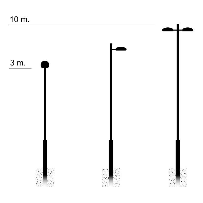 Iluminación pública y alumbrado exterior con Columna-empotrada-bicilíndrica-EU-EB-BCL