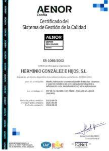 Certificado Sistema Gestión Calidad ER-1085-2002_ES_2018-09-07 HGH