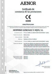certificado de Prestaciones AENOR para báculo