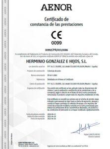 certificado de Prestaciones AENOR para columnas
